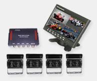 公交车倒车系统具有四分割显示,四个摄像头输入功能
