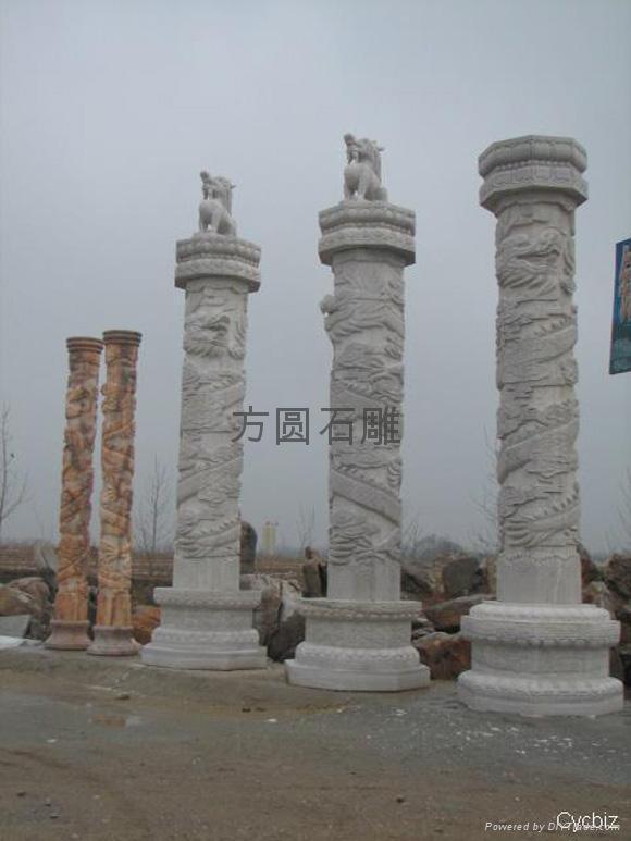 石雕汉白玉华表、石柱子、石雕龙柱、石雕中华柱、石雕九龙壁