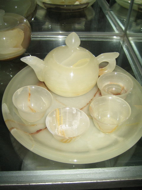 KC0016清玉石茶具(greem jade tea set)