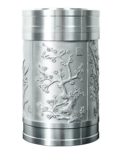 锡茶叶罐子 --梅兰竹菊