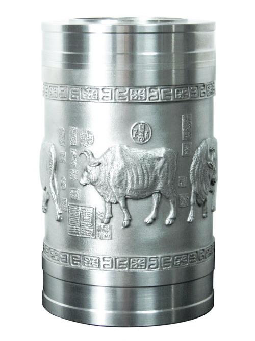 纯锡茶叶罐(五牛图)