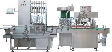 饮料液体灌装机械长沙直线式重力自流式灌装旋盖线