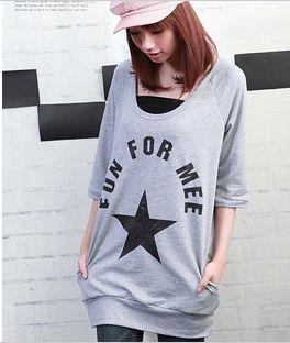 韩版时尚服装星星图案五分袖卫衣3735 厂家直销