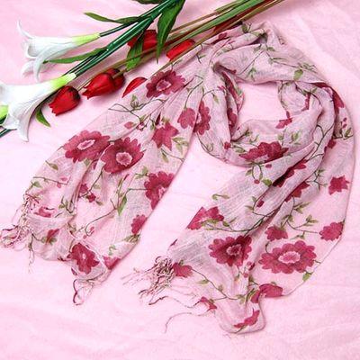 竹节纱 印花长围巾