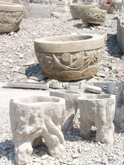 石雕鱼缸花钵,花瓶宝瓶园林景观风水石雕