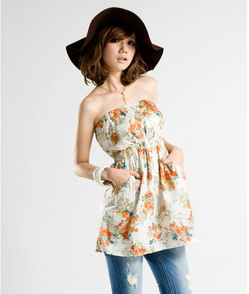 凉夏日时尚花色抹胸洋装橙