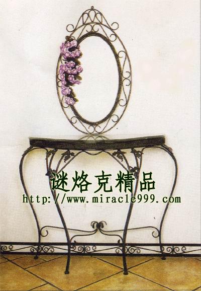 广东谜烙克金属铁艺厂; 铁艺镜子 欧式铁艺家具※田园风格 铁艺半边