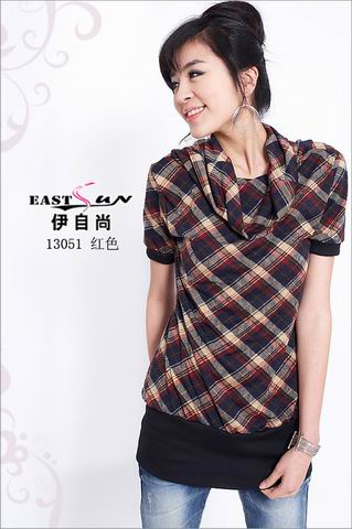 伊自尚13051时尚格子高领连衣裙