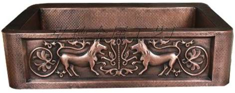 传统纯手工铜厨房盆 1602-H