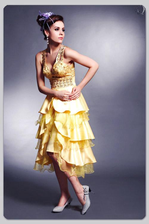 维纳斯--黄色动感活力明星小礼服!