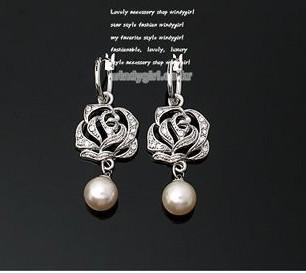 典雅玫瑰花吊珍珠耳环耳坠批发