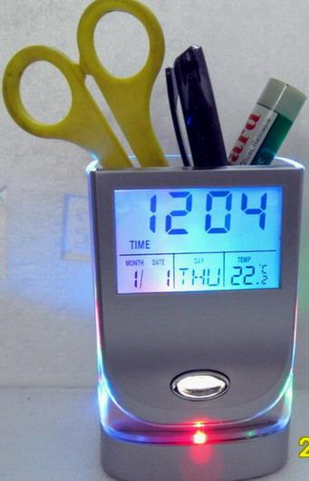 LCD七彩笔筒万年历