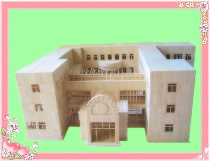 供应新型竹制学校教学楼模型沙盘原生态艺术品高档摆