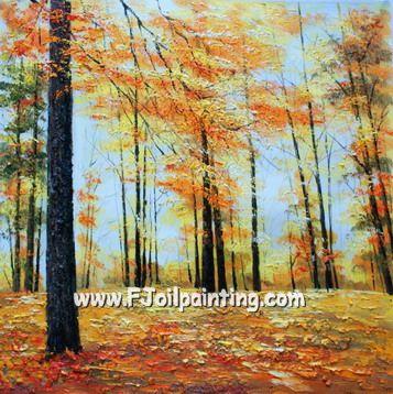 油画 刀画树林风景