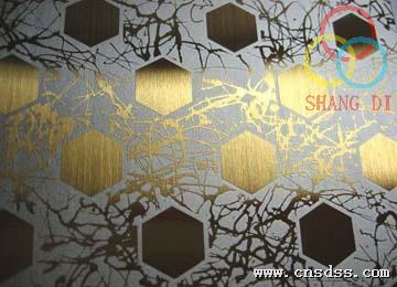 304彩色不锈钢蚀刻板,不锈钢拉丝蚀刻圆圈装饰板