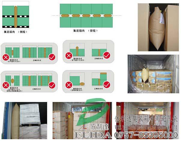 依利达集装箱专用充气袋/货柜箱缓冲包装气袋