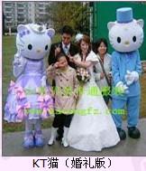 情人节卡通人偶表演服装道具出租、kt猫、情侣熊、米老鼠