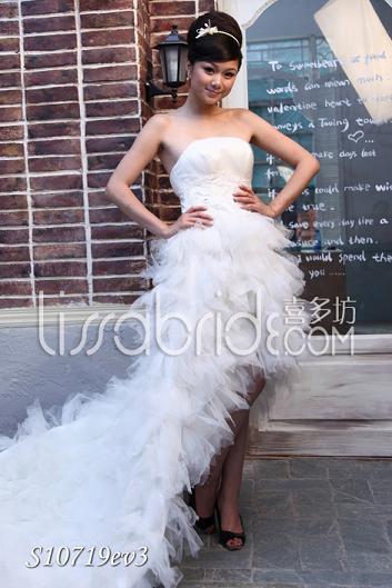 喜多坊2010年新款前短后拖抹胸婚纱S10719ev