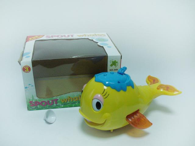 带声光音乐电动万向喷水鱼玩具