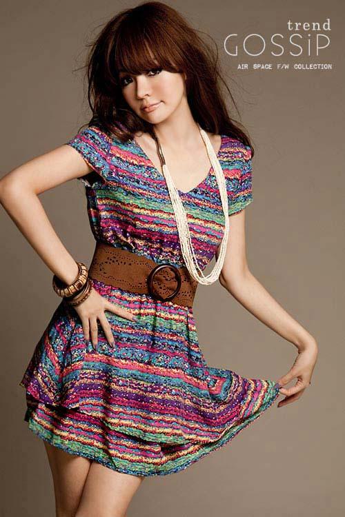 Y1561(图片色)snowla韩版彩虹条纹洋装裙(加皮带)