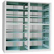 洛阳图书装具厂家供应双柱玻璃书架、玻璃期刊架、档案期刊架