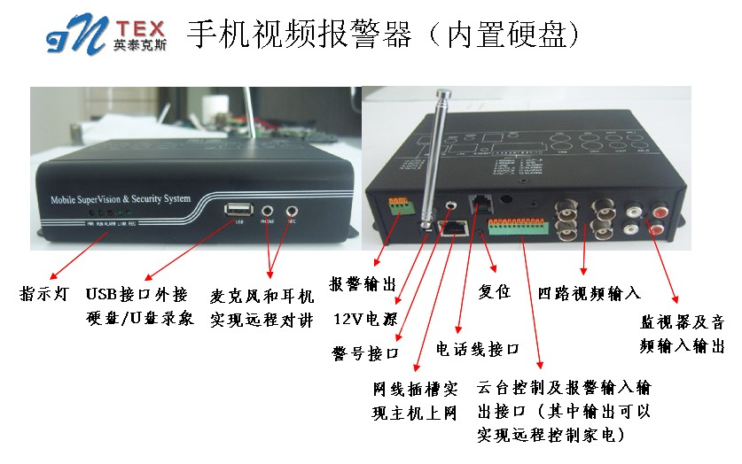 4路内置硬盘录像手机视频监控报警系统