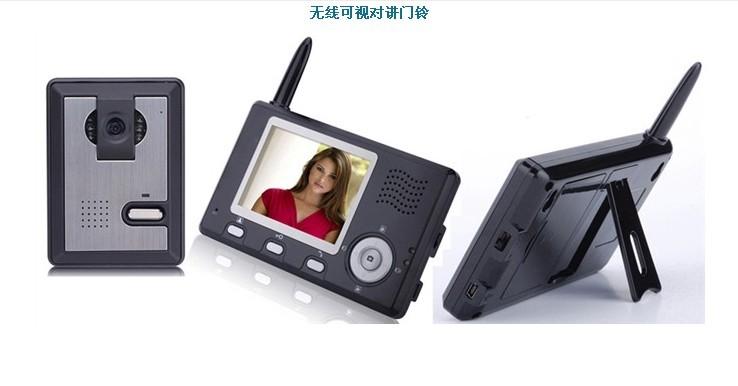 """1. 3.5寸数字屏, 主控自动拍照,存储至1000多张,也能浏览图片.30万像数。 2. MiniUSB接口,可更换的1350mAh可充电池.宽角度镜头, 清晰夜视 3.有自动睡眠模式,可以调节通话音量.6个灯源。 4.""""适配器输入: AC 100-240V 50/60Hz 输出: DC 12V/1A 线长: 150cm"""" 5.空旷传输距离200米, 抗干扰强, 高加密性."""