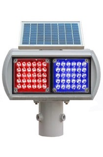 太阳能爆闪灯,太阳能两灯爆闪,太阳能警示灯,施工警示灯,太阳能红