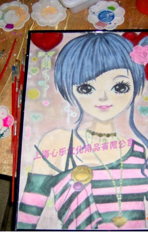 风靡全球QQ秀卡通系列人物DIY水墨画