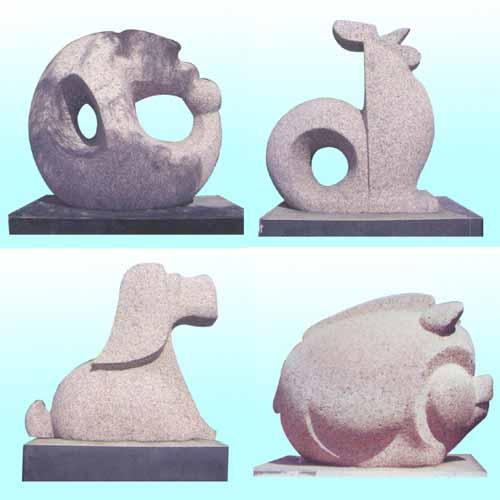 属相石雕,嘉祥石雕12生肖柱,十二生肖石雕生肖动物石雕城市雕塑
