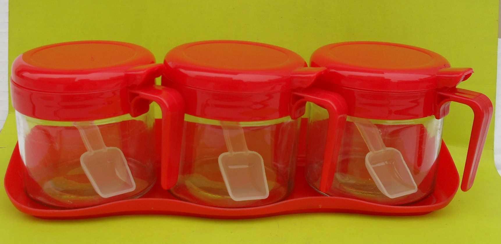 带小勺三件套调味罐,调味瓶套装,玻璃调料盒
