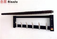 149元高档精致六排钩不锈钢仿木及藤编毛巾架上市