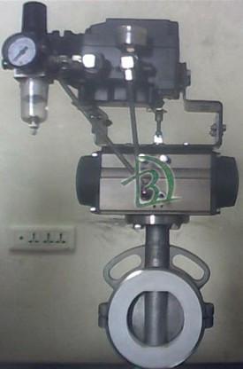 气动四氟调节阀/气动调节蝶阀/调节阀门图片