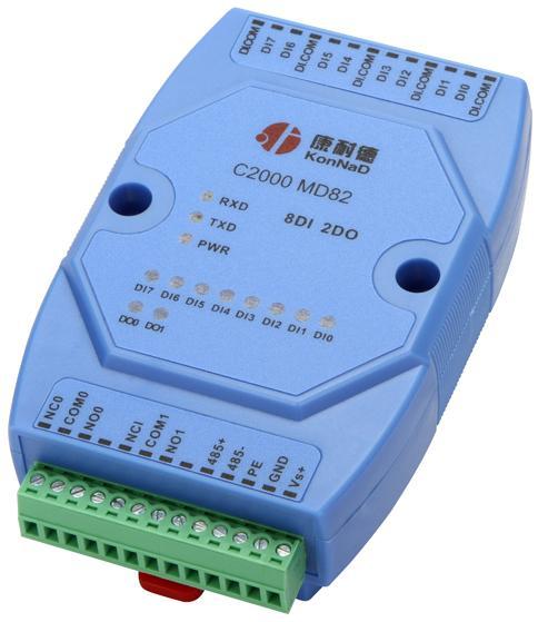 8路输入2路输出干接点数字量转RS485采集模块