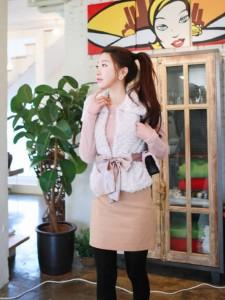 韩国服装-销纯色呢子女式短裙