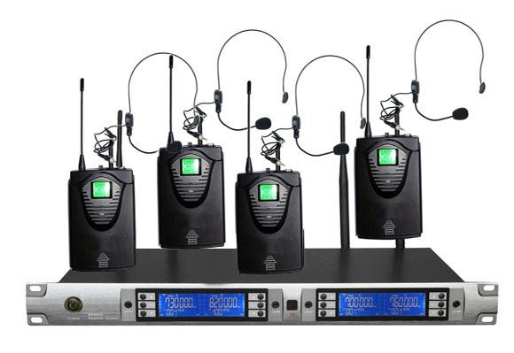 沛旺wa-u4红外对频UHF可调一拖四无线领夹麦无线话筒无线会议系统小蜜蜂