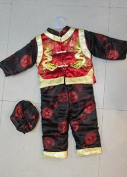 绣双龙织锦段儿童唐装