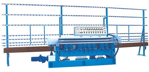 9磨头玻璃机械直线磨斜边机