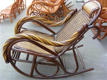 藤椅 粗扭扶摇椅 进口藤编家具