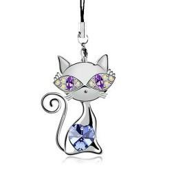 奥地利性感水晶银色紫罗兰猫咪手机饰品:你是我的眼