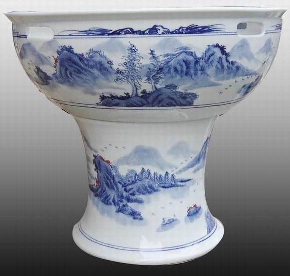 景德镇窑盛陶瓷有限公司生产销售园林用品-青花山水瓷缸,商务礼品,