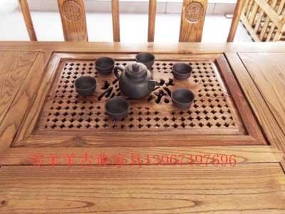 仿古家具,榆木实木家具,餐桌,茶桌七件套