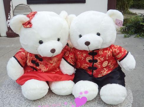 47广东毛绒玩具厂泰迪婚纱熊