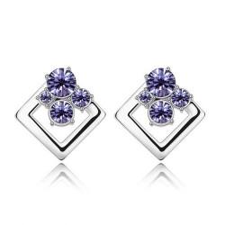 水晶饰品批发 流行饰品时尚绚丽方形奥地利水晶耳环耳钉-幸福约定