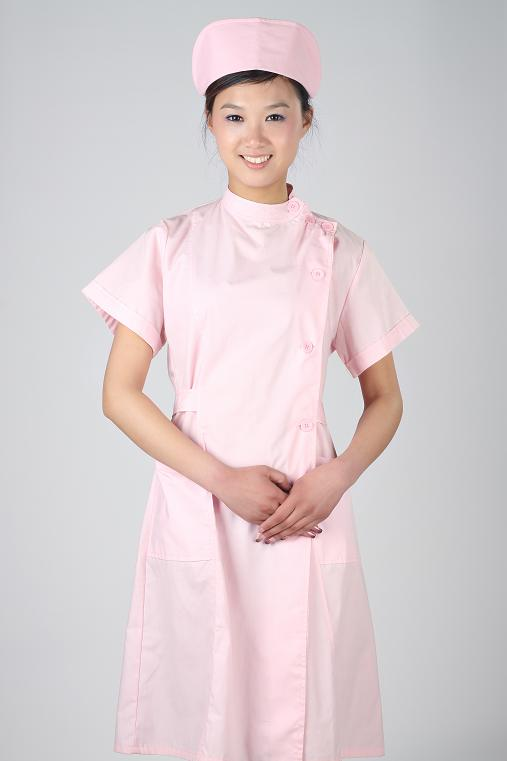 粉红色涤平面料护士服