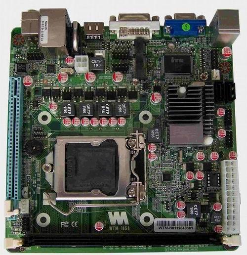 微特迈Mini-ITX H61异步双显示主板支持SSD固态硬盘