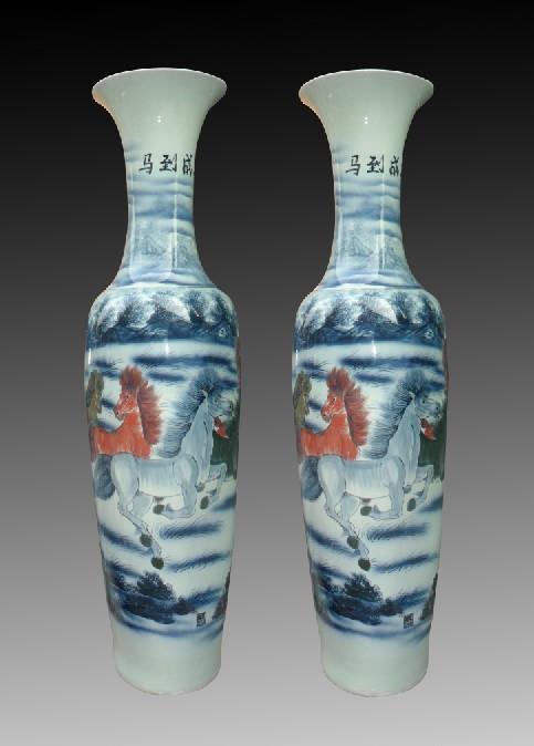 正宗景德镇陶瓷大花瓶,开业礼品陶瓷大花瓶,马到成功酒店装饰大花瓶