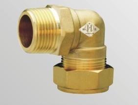 供应铜管件90°外丝卡套弯头