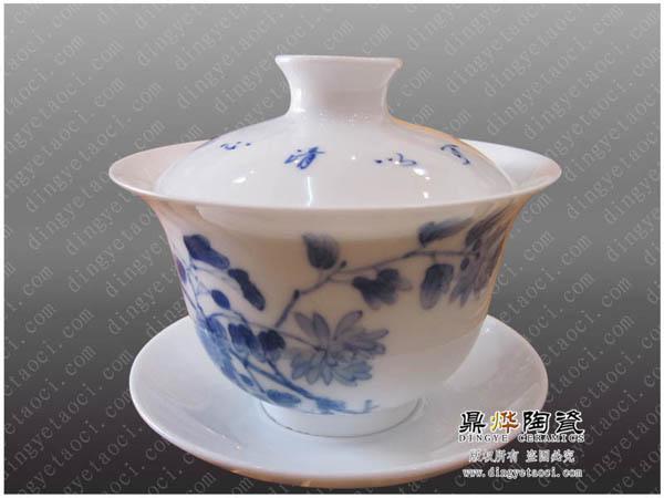 陶瓷高档盖碗批发 青花瓷手绘写意盖碗 中国古典茶具
