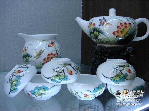景德镇传统工艺古彩手绘茶具 高档会所酒店用品 博物馆收藏